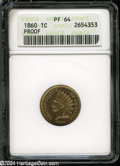 Proof Indian Cents: , 1860 1C PR64 ANACS....