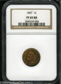 Proof Indian Cents: , 1867 1C PR65 Red and Brown NGC....
