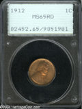Lincoln Cents: , 1912 1C MS65 Red PCGS....