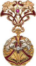 Timepieces:Pendant , Patek Philippe & Cie, Rare & Very Fine Enamel, Gold, Ruby& Diamond Pendant Watch, circa 1905. ...