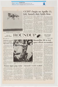 Apollo 11 Training: NASA Houston Manned Spacecraft Center Space News Roundup Newsletter, June 27, 1969, Directly F