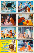 """Movie Posters:Animation, Lady and the Tramp (Buena Vista, 1955). Very Fine-. Title Lobby Card & Lobby Cards (7) (11"""" X 14""""). Animation.. ... (Total: 8 Items)"""