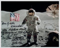 "Explorers:Space Exploration, Gene Cernan Signed Apollo 17 Lunar Surface Flag Color Photo with ""Last Words"" Quote. ..."