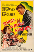 "Movie Posters:Film Noir, Sorry, Wrong Number (Paramount, 1948). Fine/Very Fine on Linen. One Sheet (27"" X 41""). Film Noir.. ..."