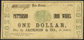 Obsoletes By State:Louisiana, New Orleans, LA- Patterson Iron Works/Jackson & Co. $1 Mar. 12, 1862 Fine.. ...