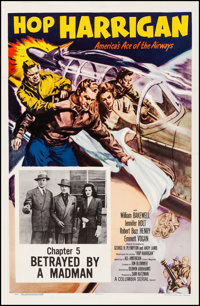 """Hop Harrigan (Columbia, R-1957). Very Fine- on Linen. One Sheet (27"""" X 41"""") Chapter 5 -- """"Betrayed By a M..."""