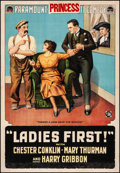 "Movie Posters:Comedy, Ladies First (Paramount, 1918). Fine+ on Linen. One Sheet (27"" X41""). Comedy.. ..."