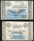 Obsoletes By State:Louisiana, Franklin, LA- Marcus Walker 25¢; 50¢ 1862 Fine-Very Fine.. ... (Total: 2 notes)