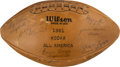 Football Collectibles:Balls, 1961 Look All-Americans Signed Football with Ernie Davis. ...