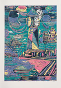 Fine Art - Work on Paper:Print, Tal R (b. 1967). Lighthouse, 2013. Woodcut in colors onpaper. 37 x 25-5/8 inches (94 x 65.1 cm) (sheet). Ed. 10/18. Sig...