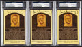 Autographs:Post Cards, Hank Greenberg Signed Hall of Fame Plaque Postcard Trio (3) - PSA/DNA Authentic. ...
