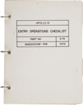 """Explorers:Space Exploration, Apollo 12 Flown """"Entry Operations Checklist"""" Book Directly from the Family Collection of Mission Command Module Pilot ..."""