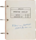 """Explorers:Space Exploration, Apollo 12 Flown """"Operations Checklist"""" Book Directly from the Family Collection of Mission Command Module Pilot Richar..."""