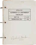 "Explorers:Space Exploration, Apollo 12 Flown ""Alternate & Contingency Checklist"" Book Directly from the Family Collection of Mission Command Module..."