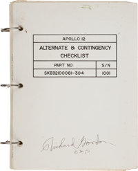 """Apollo 12 Flown """"Alternate & Contingency Checklist"""" Book Directly from the Family Collection of Mission"""