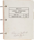 """Explorers:Space Exploration, Apollo 12 Flown """"Launch Operations Checklist"""" Book Directly from the Family Collection of Mission Command Module Pilot Richard..."""