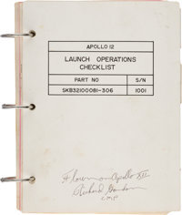 """Apollo 12 Flown """"Launch Operations Checklist"""" Book Directly from the Family Collection of Mission Command Modu..."""