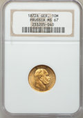 German States, German States: Prussia. Wilhelm I gold 10 Mark 1872-A MS67 NGC,...