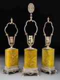 Lighting:Lamps, Three Steuben Gilt Metal and Jade Yellow Acid Cut Back Glass Table Lamp Bases. Early 20th century. Ht. 21-1/4 in. (tallest)... (Total: 3 Items)
