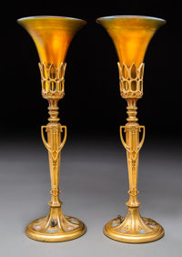 Pair of Steuben Gilt Bronze and Aurene Glass Table Lamps Circa 1920. Ht. 15-1/8 in