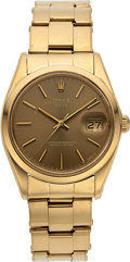 Timepieces:Wristwatch, Rolex, Very Fine Oyster Perpetual Date, 18K Yellow Gold, Ref. 1500, Circa 1972. ...