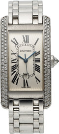 Timepieces:Wristwatch, Cartier, Very Fine Tank Americaine Automatic with Date, 18K WhiteGold and Diamond, Ref. 2490, Circa 2005. ...