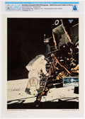 """Explorers:Space Exploration, Apollo 11: NASA First Day Cancelled Color Lithograph Photo """"Astronaut Aldrin Descends the Latter to Moon"""" Directly From The Ar..."""