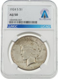 Explorers:Space Exploration, Neil Armstrong Coin Collection: 1924-S $1 AU50 NGC Peace Silver Dollar Directly From The Armstrong Family Collection™, CAG Cer...