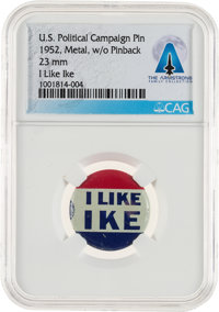 """National Politics: 1952 """"I Like Ike"""" 7/8"""" Slogan Button Directly From The Armstrong Family Collection™, C..."""