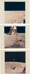 "Explorers:Space Exploration, Apollo 11: Three Original NASA ""Red Number"" Color Photos, all Show the Lunar Surface. ... (Total: 3 Items)"