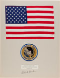 Explorers:Space Exploration, Apollo 12 Lunar Module Flown Large Size American Flag on a Signed Presentation Mat Directly from the Family Collection of Miss...