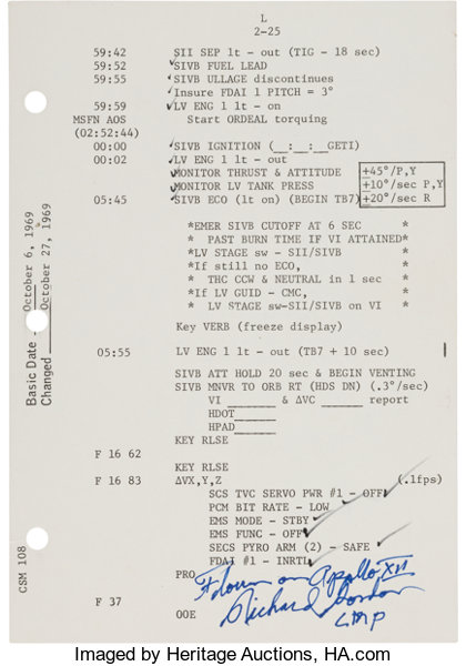 Apollo 12 Flown CSM 108 Launch Operations Checklist Page
