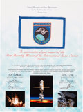 Explorers:Space Exploration, Space Shuttle Endeavour (STS-88) Flown Flag on Crew-Signed Presentation Certificate Directly from the Personal Col...