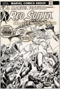 Original Comic Art:Covers, Gil Kane and John Romita Sr. Marvel Feature V2#1 Cover Red Sonja Original Art (Marvel, 1975)....