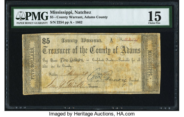 Natchez, MS- County of Adams $5 May 29, 1862 Kraus 50303 PMG