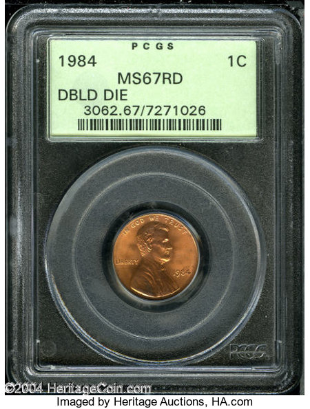 1984 1C Doubled Die Obverse MS67 Red PCGS     Lincoln Cents
