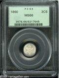 Three Cent Silver: , 1860 3CS MS66 PCGS....