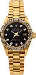 Timepieces:Wristwatch, Rolex, Fine Ladies Datejust, 18K Yellow Gold and Diamond, Automatic, Ref. 69000A, Circa 1987. ...