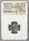 Ancients:Roman Imperial, Ancients: Augustus (27 BC-AD 14). AR denarius (19mm, 4.18 gm, 12h). NGC AU 4/5 - 3/5....