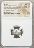 Ancients: LYDIAN KINGDOM. Time of Croesus (ca. 561-546 BC). AR half stater or siglos (17mm, 5.11 gm). NGC VG 5/5 - 2/5...