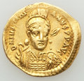 Ancients:Byzantine, Ancients: Justinian I the Great (AD 527-565). AV solidus (21mm,4.37 gm, 6h). AU, clipped....