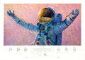 "Explorers:Space Exploration, Alan Bean Signed Limited Edition ""Hello Universe"" Print, #27/550, also Signed by Gene Cernan and Edgar Mitchell. ..."