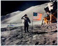 Explorers:Space Exploration, Dave Scott Signed Large Apollo 15 Lunar Surface Flag Salute Color Photo, with Novaspace Certificate of Authenticity. ...