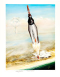 """Explorers:Space Exploration, Project Mercury: Pat Eby Signed Limited Edition, #97/450, """"Mercury and Beyond"""" Color Print, also Signed by Astronaut Scott Car..."""