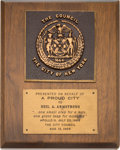 Explorers:Space Exploration, Apollo 11 Post-Quarantine Tour: 1969 New York Proud City Award. Directly From The Armstrong Family Collection™, CAG Certified....