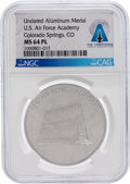 Explorers:Space Exploration, U.S. Air Force Academy: Undated Aluminum Medal MS64PL NGC, Directly From The Armstrong Family Collection™, CAG Certified. ...