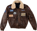 Explorers:Space Exploration, Neil Armstrong's Owned and Worn Barron Hilton Cup / EADS Leather Bomber-Style Leather Jacket with Photographic Provenance, Dir...