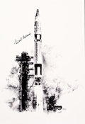 "Explorers:Space Exploration, Gemini 10: Paul Calle Limited Edition, #5/250, ""Gemini 10 Launch"" Print, Signed by Michael Collins. ..."
