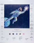 """Explorers:Space Exploration, Alan Bean Signed Limited Edition """"Reaching for the Stars"""" Textured Canvas Color Print, #945/1500, Signed by Twenty-Four Astron..."""