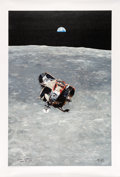 """Explorers:Space Exploration, Apollo 11: Chris Calle Signed Limited Edition, Signature Edition #AP4/11, """"Eagle's Ascent"""" Canvas Print, also Signed by Michae..."""